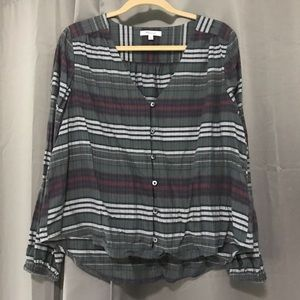 Madewell Plaid Button Up Scoop Neck Top